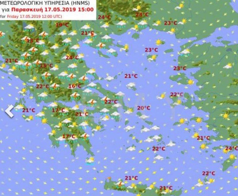 Προγνωστικός χάρτης της ΕΜΥ για την Παρασκευή που δείχνει βροχές στις περισσότερες περιοχές της χώρας