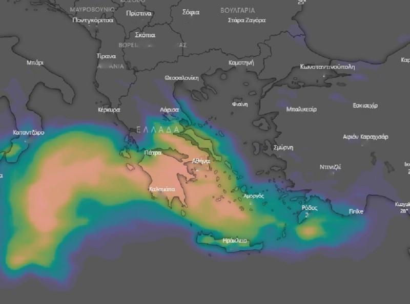 καιρός κακοκαιρία Ιανός χάρτης Καλλιάνου