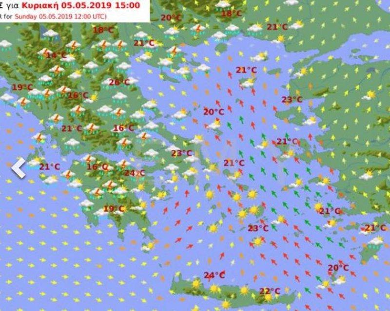 Χάρτης της ΕΜΥ για το μεσημέρι της Κυριακής, με τη μισή χώρα να έχει καταιγίδες και την άλλη μισή ηλιοφάνεια