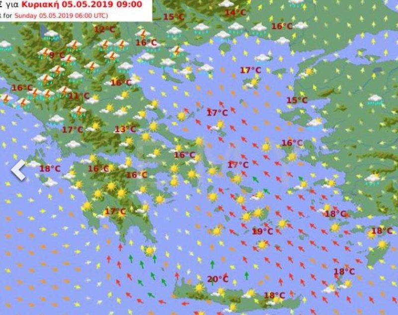 Προγνωστικός χάρτης της ΕΜΥ για το πρωί της Κυριακής δείχνει βροχές σε Ηπειρο, Θεσσαλία, Δυτική και Κεντρική Μακεδονία