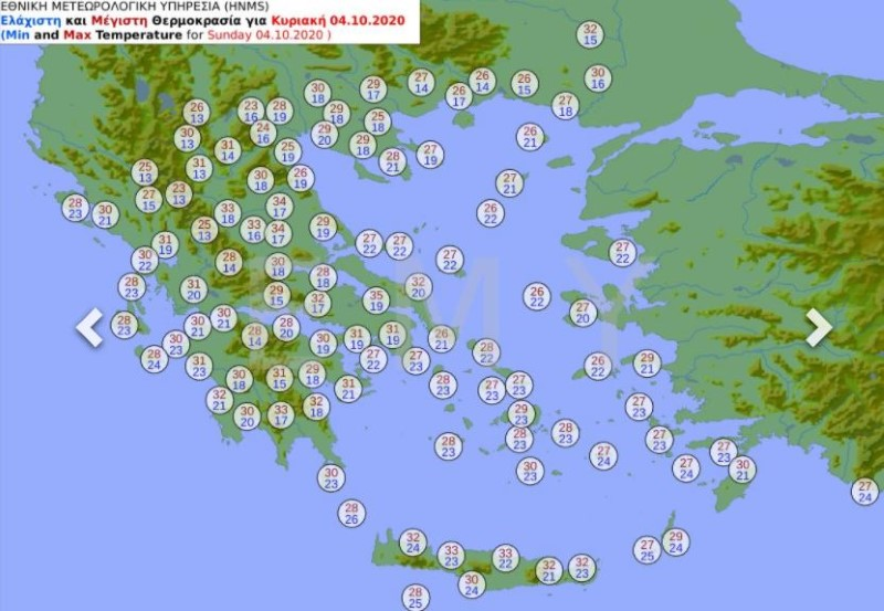 Προγνωστικός χάρτης θερμοκρασιών για τον καιρό της Κυριακής