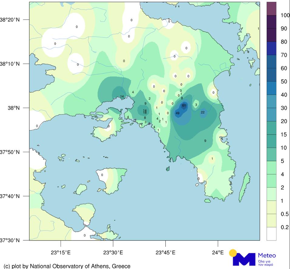Χάρτης με την βροχόπτωση στην Αττική