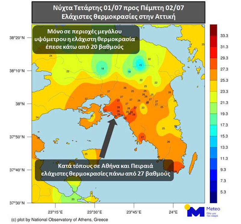 καιρός υψηλές θερμοκρασίες τη νύχτα στην Αττική