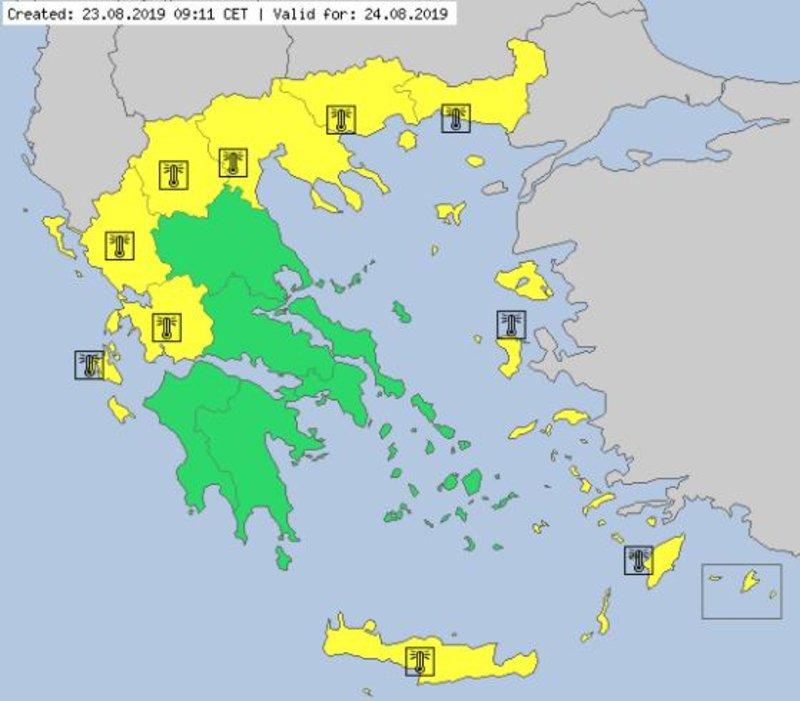 Ο χάρτης θερμοκρασιών του METEO ALARM για το Σάββατο