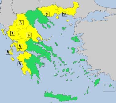 Ο χάρτης του METEOALARM.EU για τον καιρό της Τρίτης