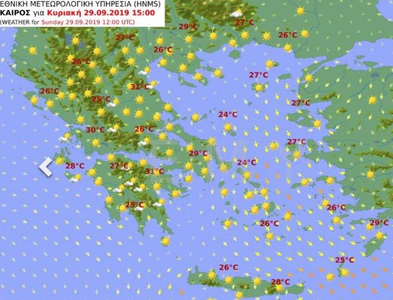 Ο χάρτης του καιρού την Κυριακή