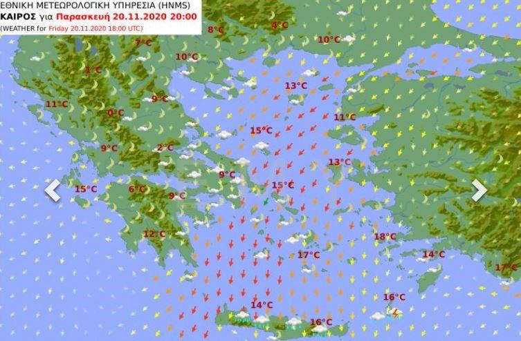 Χάρτης καιρού Παρασκευής