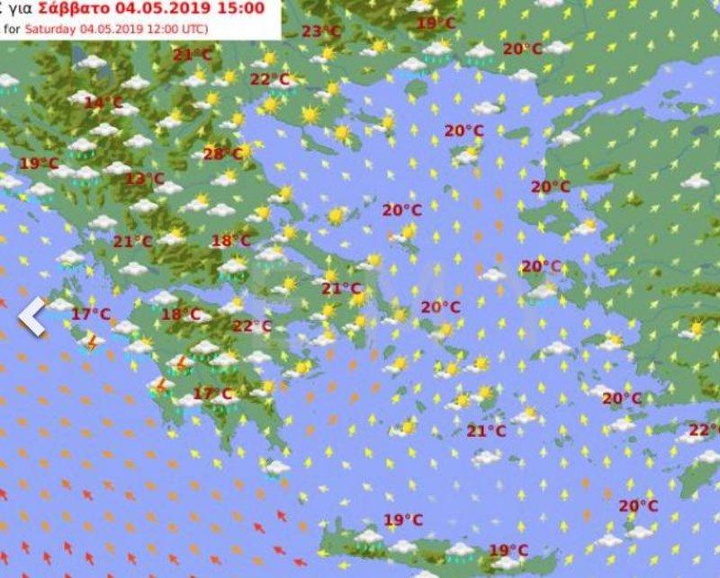 Ο προγνωστικός χάρτης της ΕΜΥ για το μεσημέρι του Σαββάτου