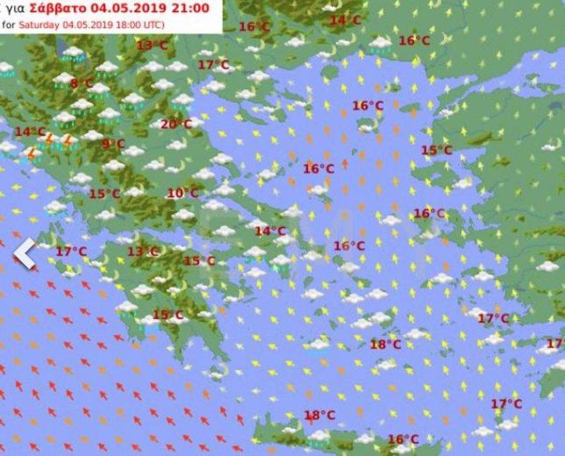 Προγνωστικός χάρτης της ΕΜΥ για το βράδυ του Σαββάτου δείχνει βροχές κυρίως στο δυτικό τμήμα της χώρας