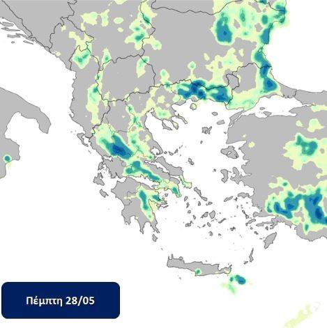 Ο χάρτης του Meteo για τον καιρό της Πέμπτης