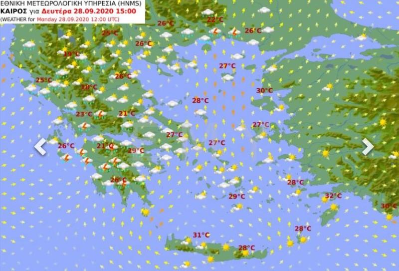 Ο καιρός της Δευτέρας  Νέο κύμα βροχοπτώσεων και καταιγίδων σήμερα kairos xartis mesimeri deuteras 28 09 2020