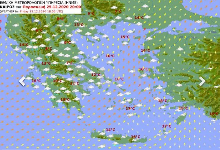 χάρτης καιρού χριστουγέννων