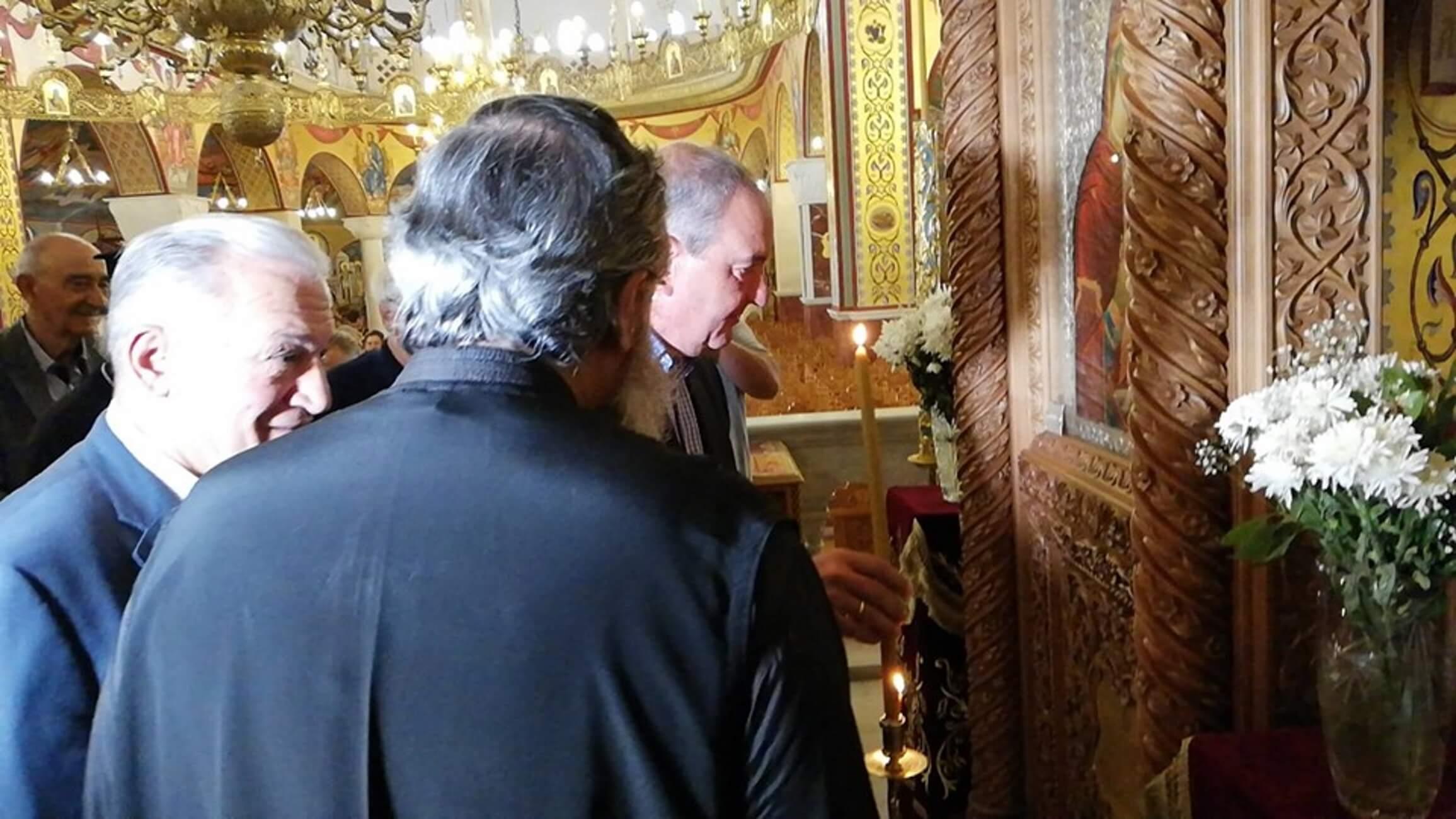 Ο πρώην πρωθυπουργός Κώστας Καραμανλής στην εκκλησία του Αγίου Παντελεήμονα στους Αμπελοκήπους Θεσσαλονίκης