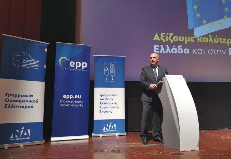 Ο Βαγγέλης Μεϊμαράκης στο βήμα της εκδήλωσης