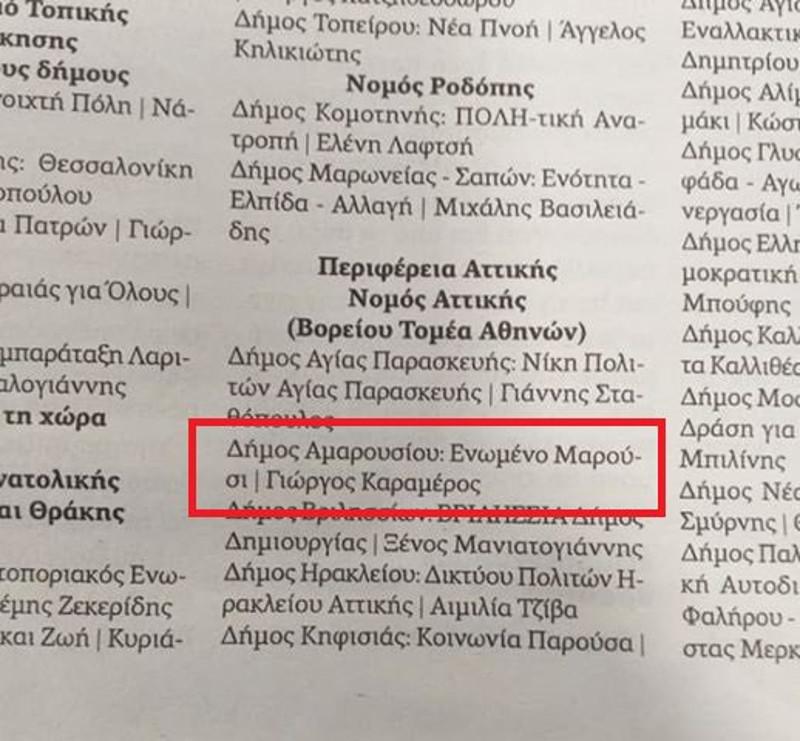 Το δημοσίευμα της Αυγής όπου ανακοινώνει την επίσημη υποστήριξη του Γιώργου Καραμέρου στις δημοτικές εκλογές
