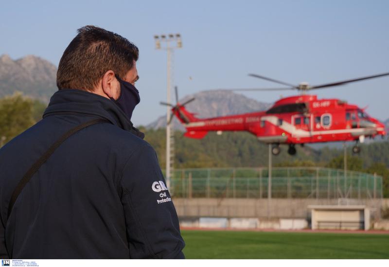 κακοκαιρία στην Καρδίτσα Χαρδαλιάς σε ελικόπτερο