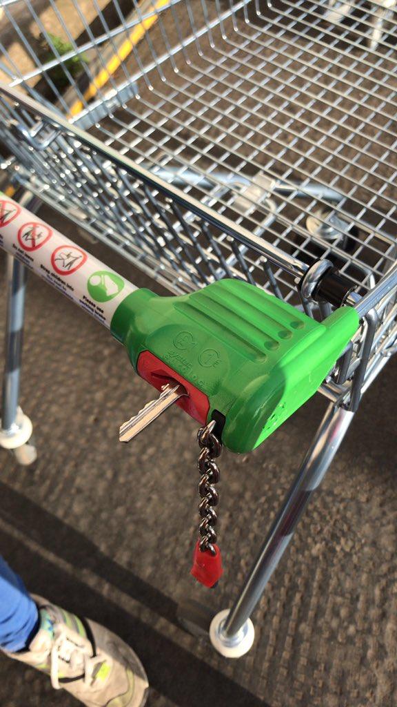 Καρότσι σούπερ μάρκετ με κλειδί αντί για κέρμα στην ειδική εγκοπή