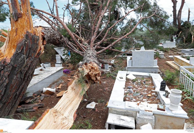 Η θεομηνία δεν άφησε τίποτα όρθιο στο νεκροταφείο της Σωζόπολης