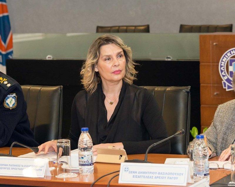 Η Κατερίνα Παπακώστα σε συνέντευξη Τύπου στο υπουργείο Προστασίας του Πολίτη