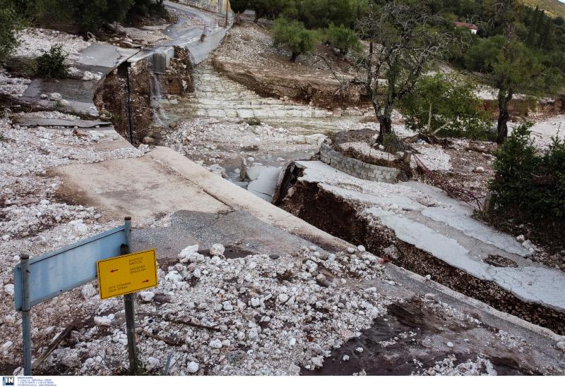 Καταστροφές στο οδικό δίκτυο της Κεφαλονιάς
