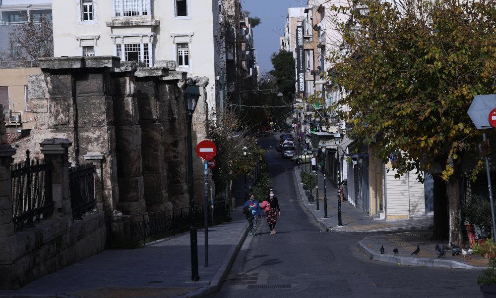 Ποδηλάτης στο κέντρο της Αθήνας το Σάββατο / Φωτογραφία: Intime