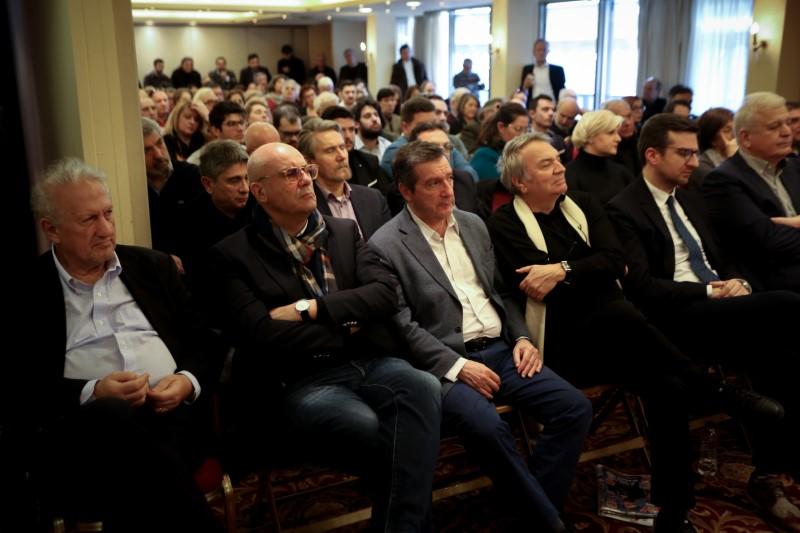 Σκανδαλίδης, Καμίνης, Μπίστης, Πρωτόπαππας, Σαλαγιάννης στην εκδήλωση της κεντροαριστεράς