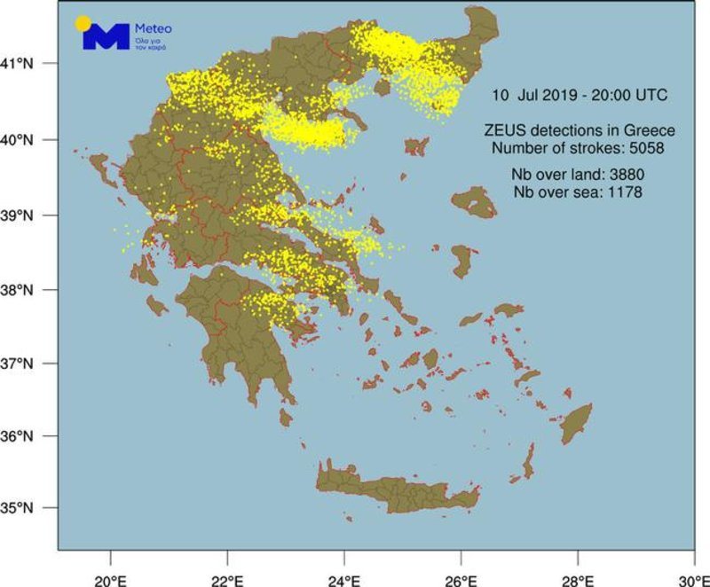 Ο χάρτης των κεραυνών κατά τη φονική κακοκαιρία στη Χαλκιδική