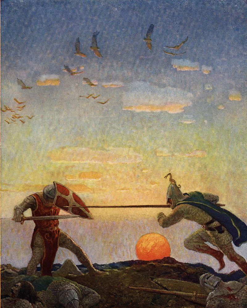 Η μονομαχία του Αρθούρου με τον ανεψιό του Μόντρεντ, εικονογραφημένη από τον N.C. Wyeth για το The Boy's King Arthur.