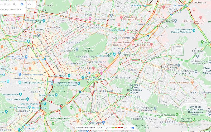 κίνηση χάρτης Αθήνας