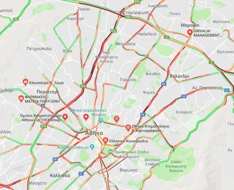 Χάρτης της κίνησης στους δρόμους