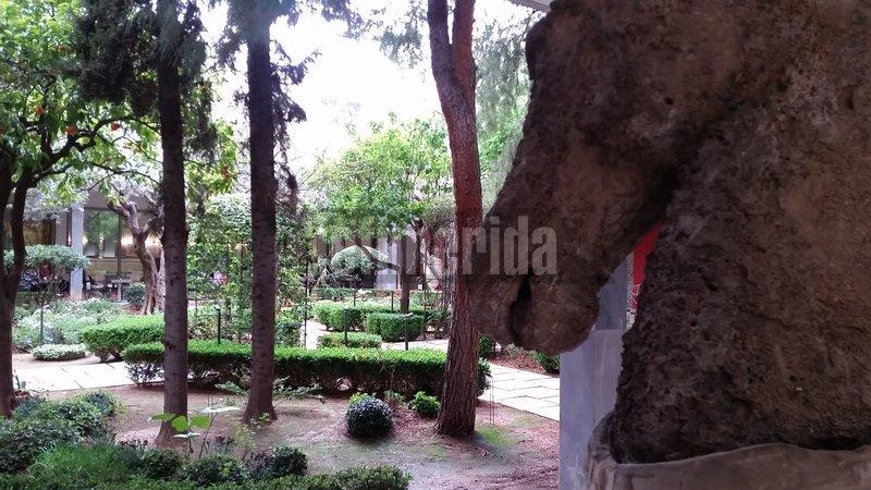 Αγαλμα αλόγου και ο κήπος ως φόντο