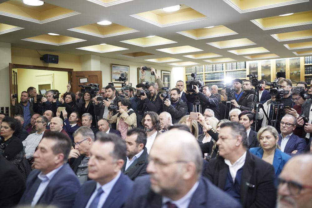 Κατάμεστη η αίθουσα στην οποία μίλησε ο Κυριάκος Μητσοτάκης/ Φωτογραφία: InTime News