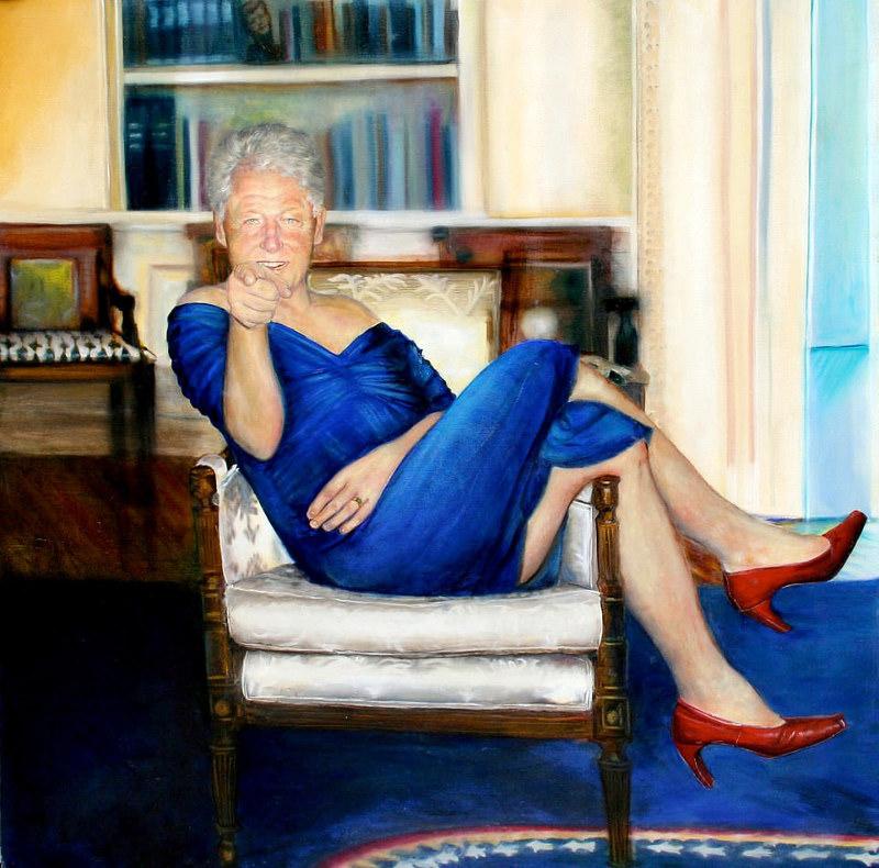 Ο Μπιλ Κλίντον με μπλε φόρεμα και γόβες