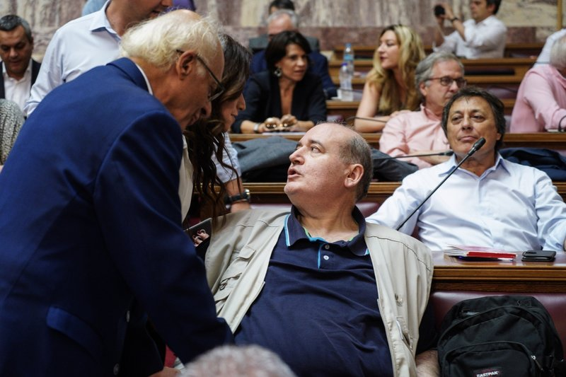 Ο Νίκος Φίλης στα έδρανα της ΚΟ του ΣΥΡΙΖΑ