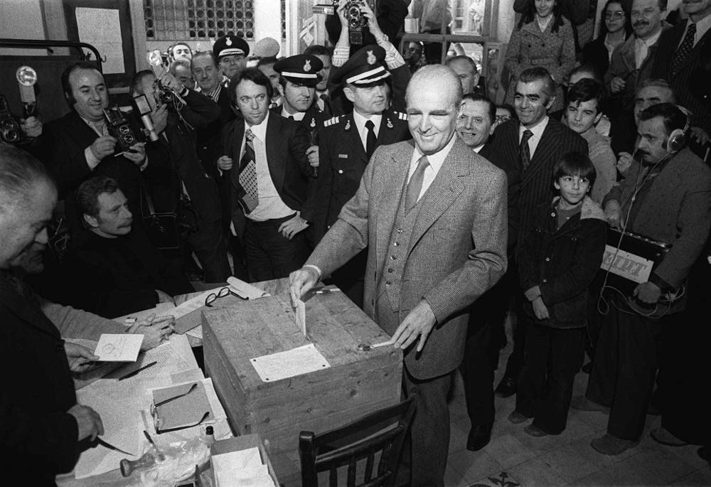 Ο Κωνσταντίνος Καραμανλής στις πρώτες εκλογές της Μεταπολίτευσης