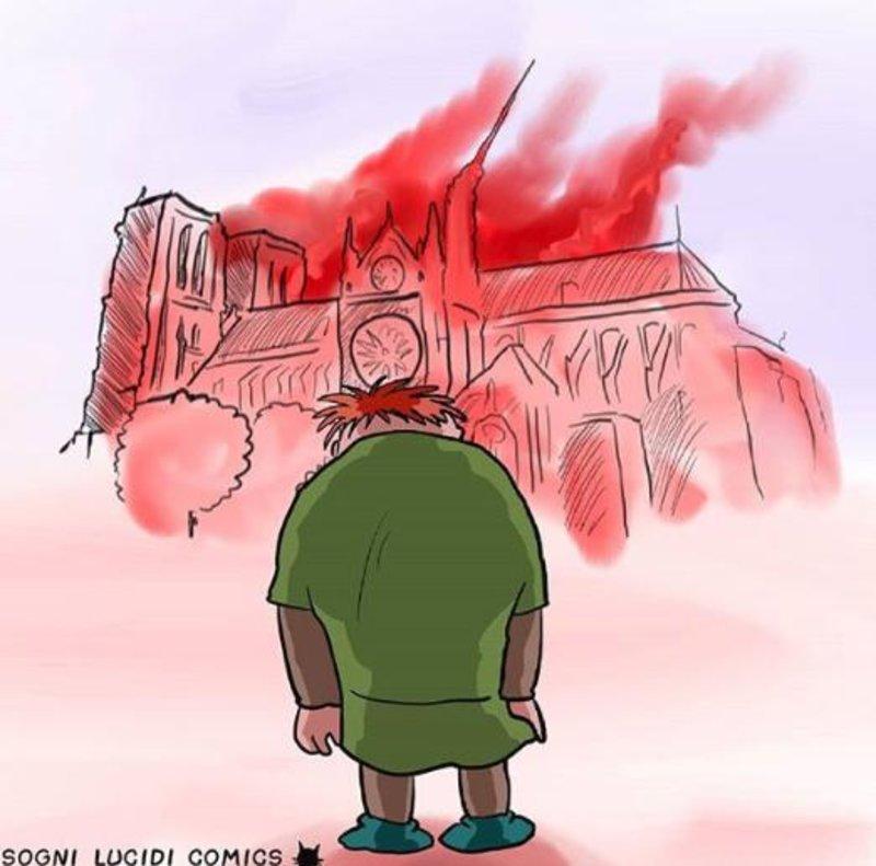 Ο Κουασιμόδος κοιτά τη φωτιά