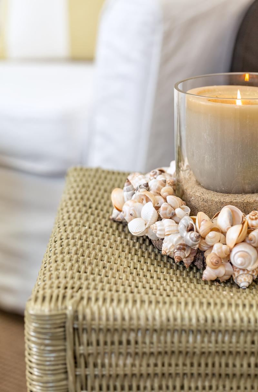 Στεφανάκι από κοχύλια σε κερί
