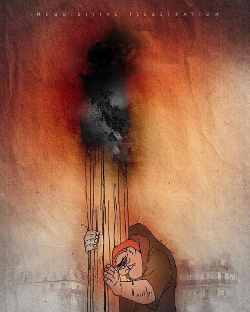 Ο Κουασιμόδος αγκαλιά με ένα ξύλο που καίγεται