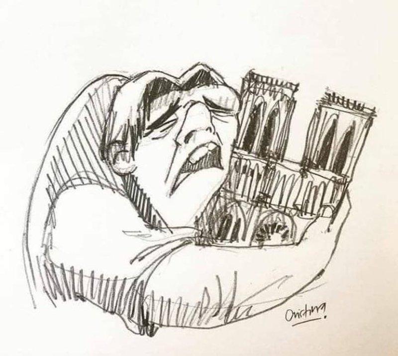 Ο Κουασιμόδος κλαίει έχοντας αγκαλιά την Παναγία των Παρισίων