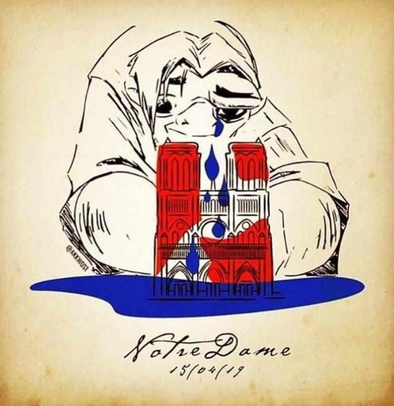 Ο Κουασιμόδος κλαίει πάνω από την κόκκινη Παναγία των Παρισίων σχηματίζοντας μια μπλε λίμνη