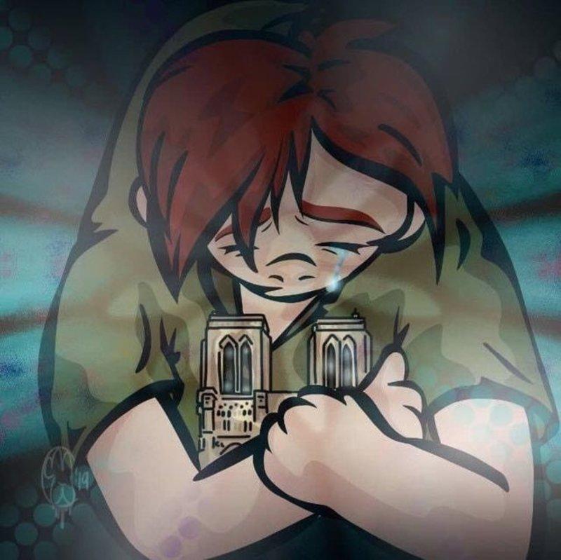 Ο Κουασιμόδος δακρύζει έχοντας αγκαλιά την Παναγία των Παρισίων