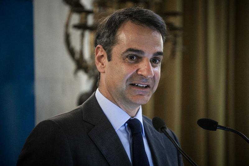 Ο Κυριάκος Μητσοτάκης, σε κοντινό πλάνο, κατά την ομιλία του στην εκδήλωση.