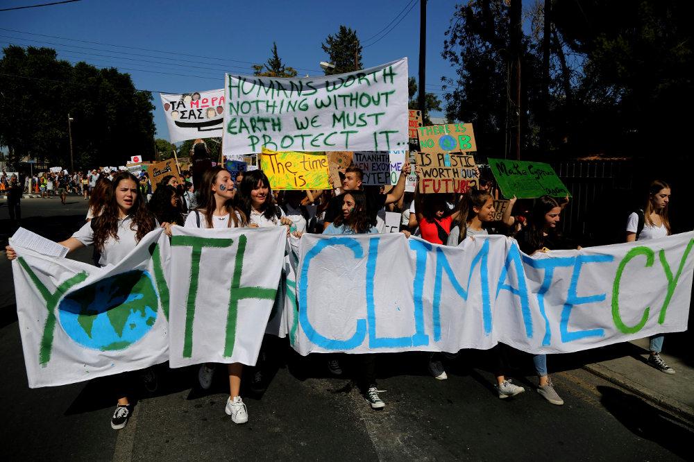 Μαθητές στην Κύπρο διαδηλώνουν μαζί με όλο τον κόσμο κατά της κλιματικής αλλαγή / Φωτογραφία: AP Photos