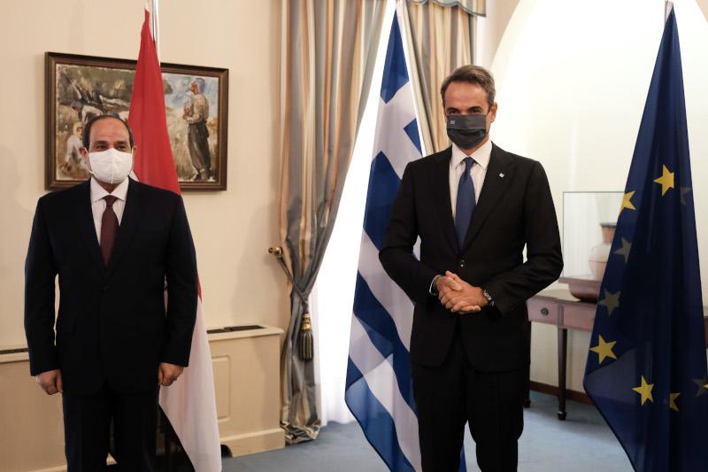 Κυριάκος Μητσοτάκης με Φατάχ αλ Σίσι