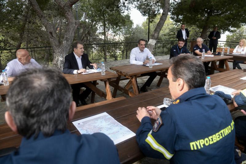 Κυριάκος Μητσοτάκης αντιπυρική περίοδος Μιχάλης Χρυσοχοΐδης και Νίκος Χαρδαλιάς