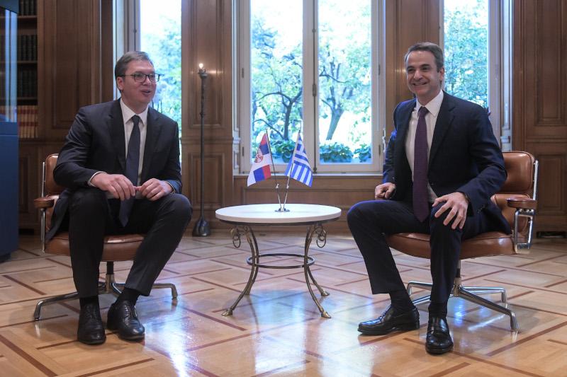 Στιγμιότυπο λίγο μετά την υποδοχή του Σέρβου προέδρου στο Μέγαρο Μαξίμου