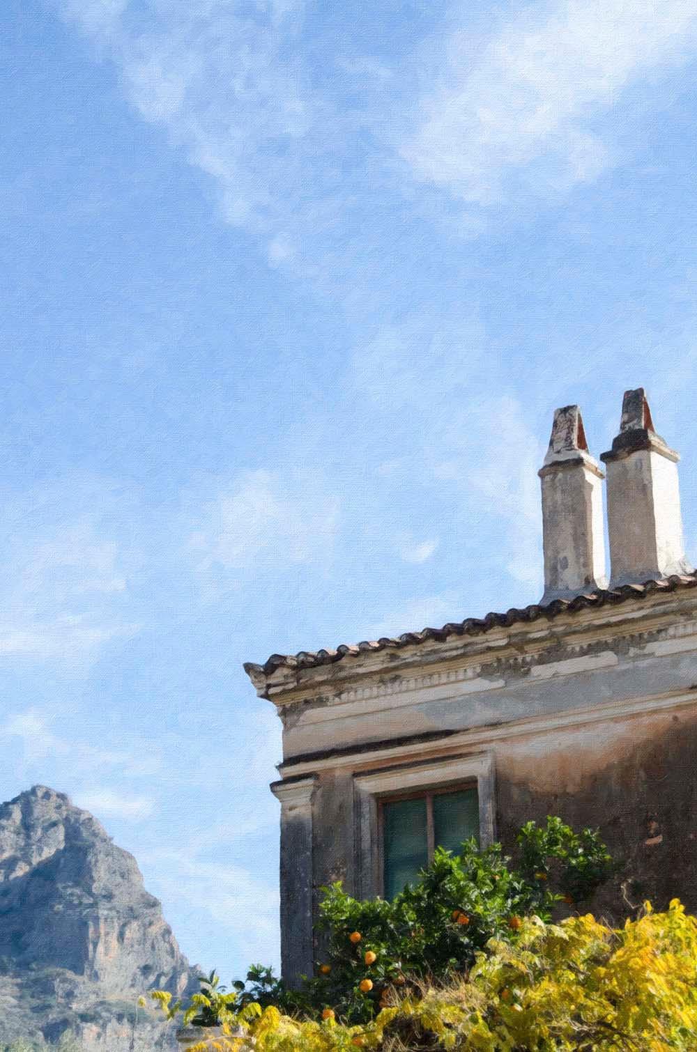 Λεωνίδιο, σπίτια με φόντο το βουνό
