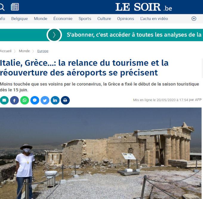 Με εικόνα από την Ακρόπολη και το δημοσίευμα της βελγικής Le Soir για τον τουρισμό στην Ελλάδα