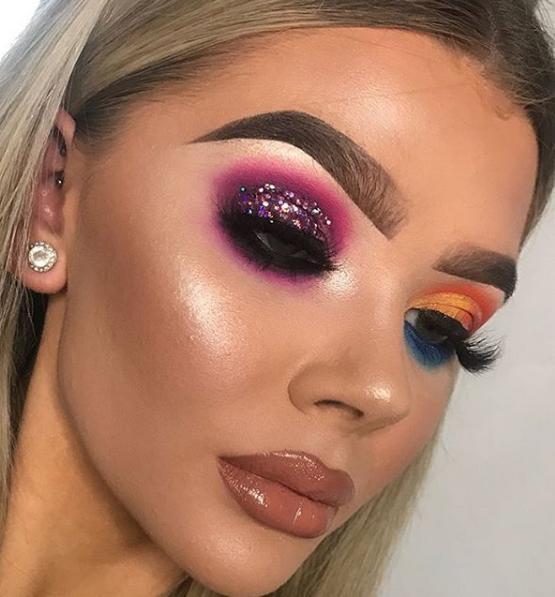 Μακιγιάζ με πολύχρωμες και λαμπερές σκιές ματιών