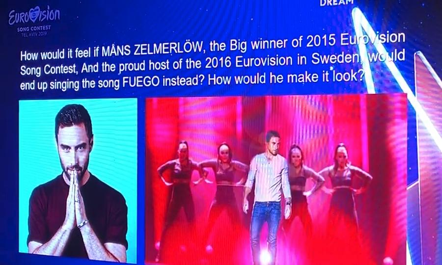 Ο Μανς Ζεμερλόου σε κάρτα των διοργανωτών του διαγωνισμού θα τραγουδήσει Ελένη Φουρέιρα